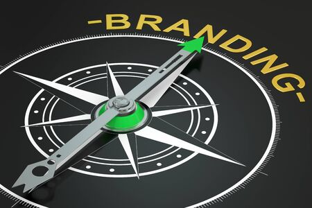 branded product: Branding compass concept, 3D rendering Stock Photo