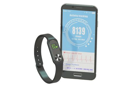 calories: activity tracker or fitness bracelet with smartphone, 3D rendering isolated on white background