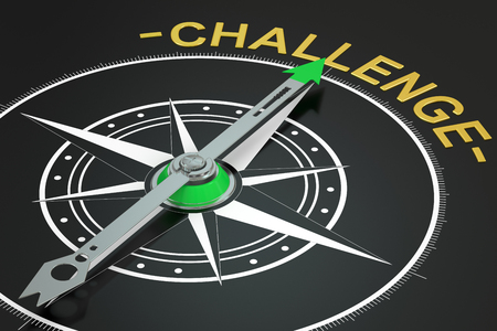 conquer adversity: challenge compass concept, 3D rendering