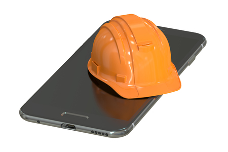 call outs: Construction Hard Hat and Smartphone, service and repair concept. 3D rendering isolated on white background