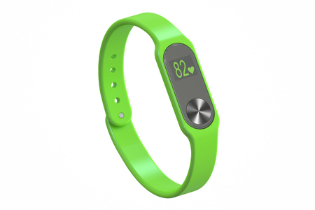 green activity tracker or fitness bracelet, 3D rendering isolated on white background Фото со стока