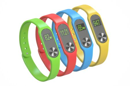 bracelets: set of activity trackers or fitness bracelets, 3D rendering isolated on white background