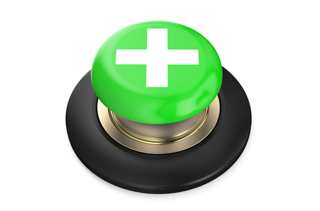 push button: plus or cross green push button, 3D rendering isolated on white background