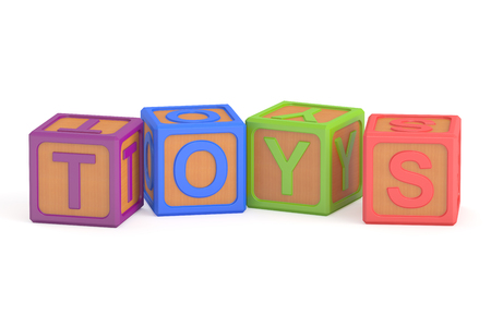 school kit: Toy cubes, toys concept. 3D rendering isolated on white background Stock Photo