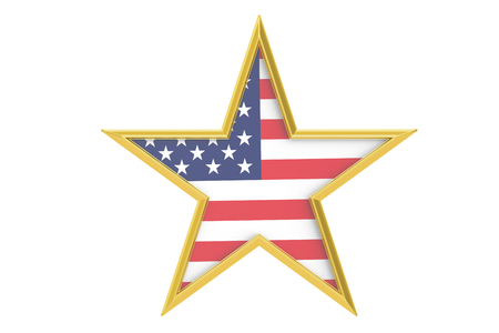 declaration of independence: USA holiday concept, stars with USA flag, 3D rendering isolated on white background