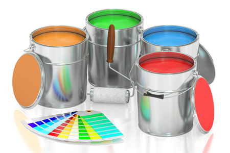 paint container: Paint cans, palette and roller brush. 3D rendering isolated on white background Stock Photo