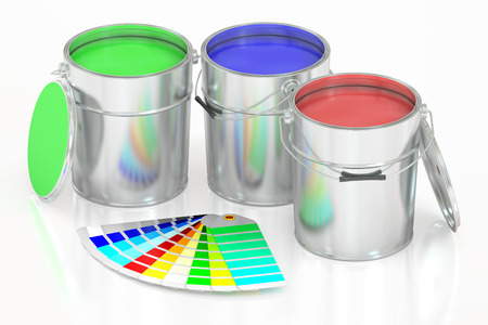 gallons: Paint cans and palette, 3D rendering isolated on white background Stock Photo
