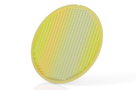 silicon: Silicon wafer with processor cores, 3D rendering isolated on white background Stock Photo