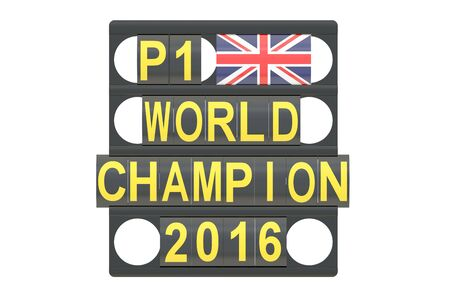 pit: World Champion racing concept, pit board with flag of Great Britain, 3D rendering Stock Photo
