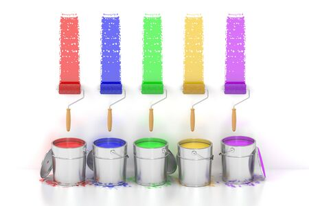 Paint cans and roller brushes. 3D rendering isolated on white background