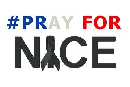 bombings: Pray for Nice concept. 3D rendering isolated on white background