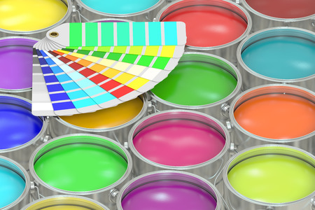 pantone: Paint cans background with pantone color palette guide. 3D rendering Stock Photo