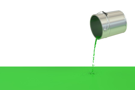 spilled paint: Green spilled paint concept, 3D rendering