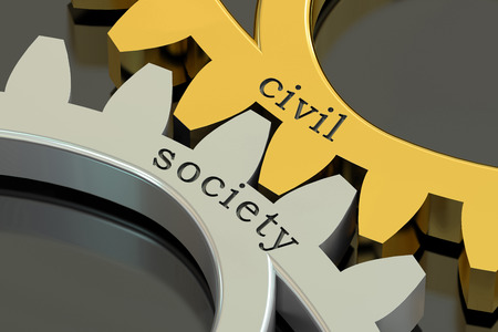 civil society concept on the gearwheels, 3D rendering