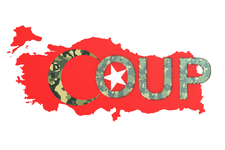 overthrow: Turkey coup concept, 3D rendering isolated on white background