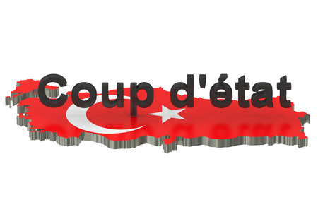 coup: Turkey coup detat concept, 3D rendering isolated on white background