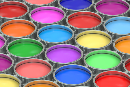 paint container: Paint cans background. 3D rendering