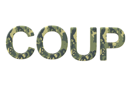 coup: Coup concept, 3D rendering isolated on white background