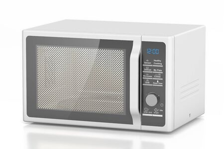 microondas: horno de microondas blanco, representación 3D aislada en el fondo blanco