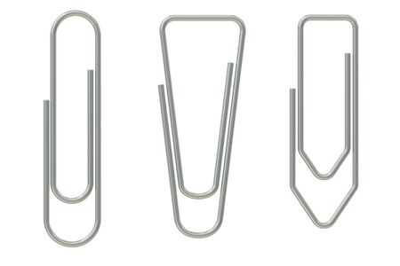 paper clips: Paper Clips closeup, 3D rendering isolated on white background Stock Photo