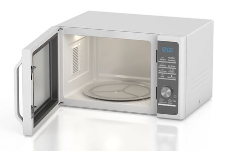 microwave oven: white opened microwave oven, 3D rendering isolated on white background