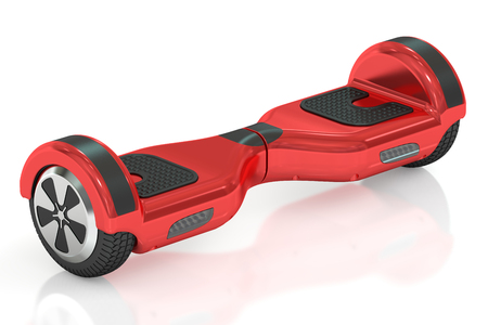 hover: red hoverboard or self-balancing scooter 3D rendering isolated on white background Stock Photo