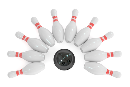Bowling concept, 3D rendering isolated on white background