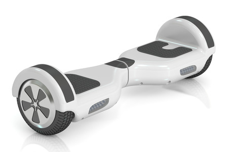white hoverboard or self-balancing, 3D rendering isolated on white background