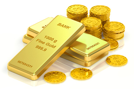 ingots: Gold ingots and coins, 3D rendering isolated on white background Stock Photo