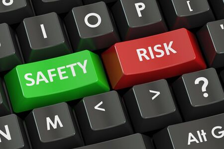 safely: safety and risk concept on the black keyboard, 3D rendering