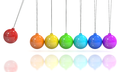 Colored Newtons cradle, pendulum. 3D rendering isolated on white background