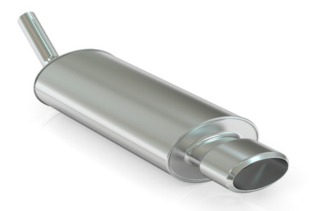exhaust pipe: Car Exhaust Pipe, 3D rendering isolated on white background Stock Photo