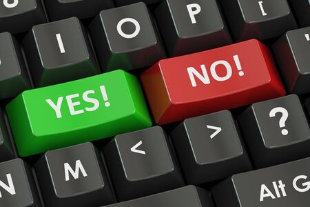 approvement: Yes and No concept on the black keyboard, 3D rendering
