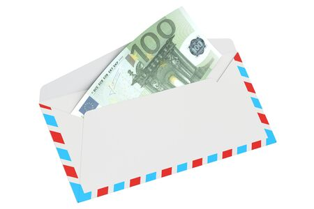 remittance: Envelope with 100 euro, 3D rendering isolated on white background