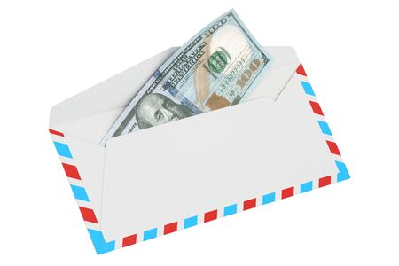 remittance: Envelope with 100 dollars, 3D rendering isolated on white background