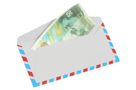 remittance: white envelope with 50 shekels, 3D rendering isolated on white background