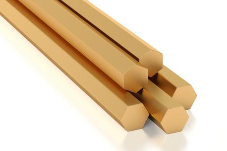 brass: Copper hexagon bars, rolled metal. 3D rendering