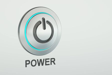 power button closeup, 3D rendering isolated on white background
