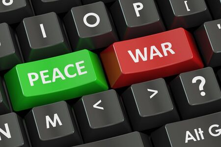 peace concept: war and peace concept on the black keyboard, 3D rendering Stock Photo