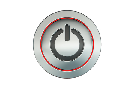 power button: power button closeup, 3D rendering isolated on white background