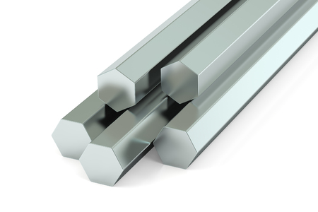 rolled: hexagon bars, rolled metal. 3D rendering Stock Photo