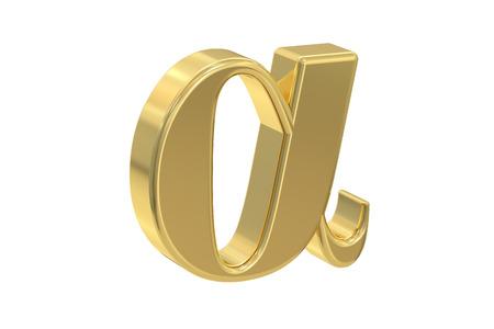 Alpha segno d'oro, rendering 3d isolato su sfondo bianco
