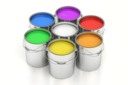 gallons: Paint cans, 3D rendering isolated on white background Stock Photo