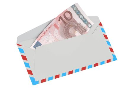 remittance: white envelope with 10 euro, 3D rendering isolated on white background