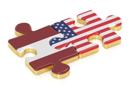 relation: USA and Latvia puzzles from flags, relation concept. 3D rendering