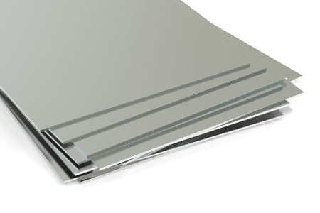 metaal, platen. 3D-rendering op een witte achtergrond Stockfoto