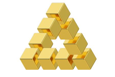 percepción: Imposible ilusión óptica triángulo de oro, representación 3D aislada en el fondo blanco Foto de archivo