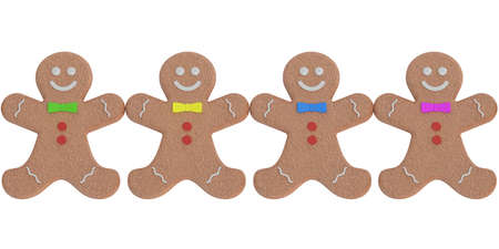 Gingerbread man, cookies. 3D rendering isolated on white background