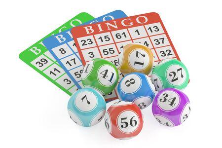 millonario: concepto de bingo, bolas de la lotería y tarjetas. Representación 3D aislado en el fondo negro
