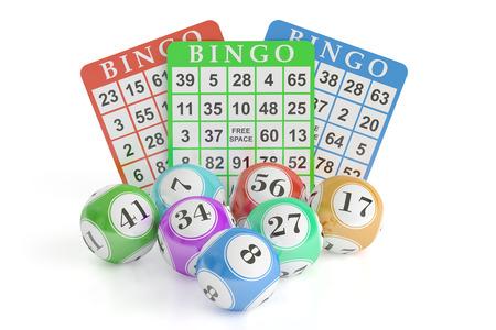 concepto de bingo, bolas de la lotería y tarjetas. Representación 3D aislado en el fondo negro